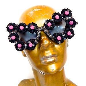 WICKED GARDEN RHINESTONE CATS MEOW GLASSES NEW
